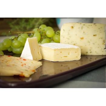 Camembert-Käse Dreiecke mit Paprika-Thymian-Käse (links) und Bockshornkäse (rechts)