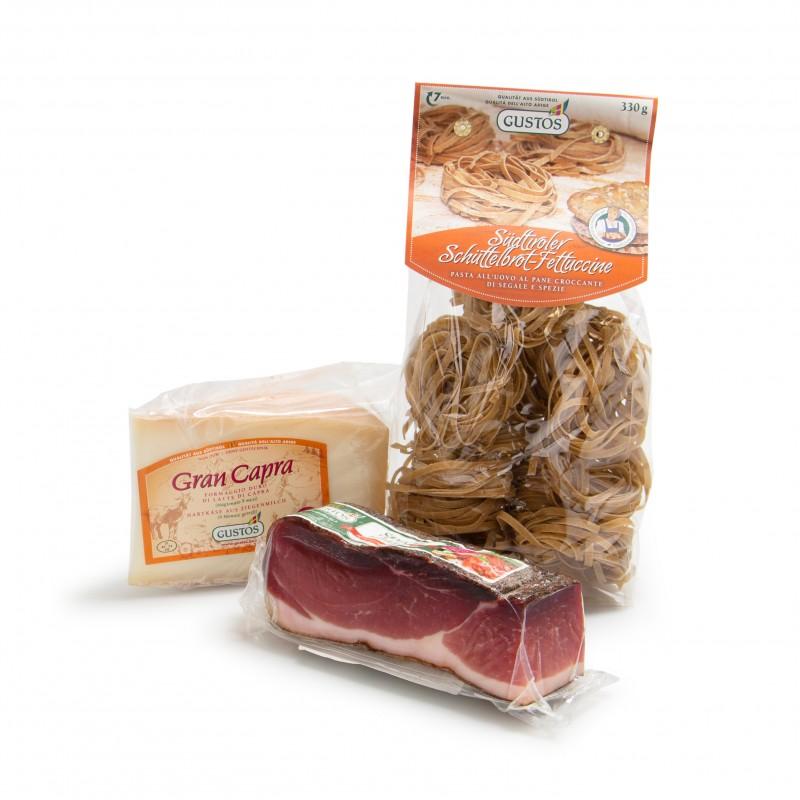 Gran Capra Käse, Schüttelbrot-Fettuccine und Speck Herzstück