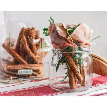 Mehrkorn-Grissini mit Kochschinken und Rucola