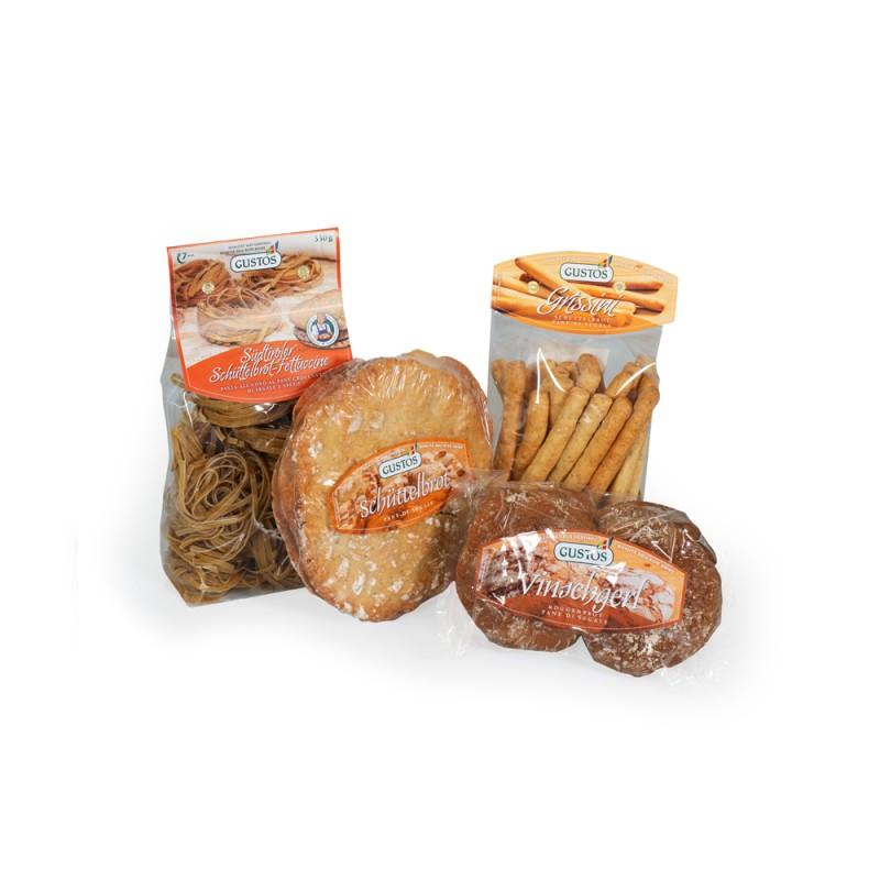 Produkte mit Roggenmehl: Schüttelbrot-Fettuccine, Schüttelbrot, Schüttelbrot-Grissini und Vinschger'l