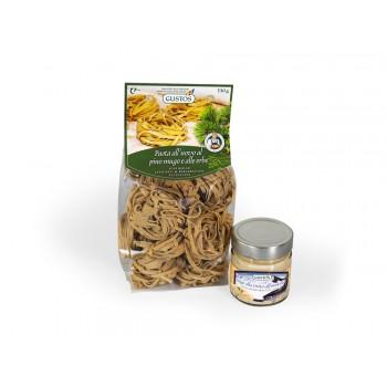 Latschen- und Bergkräuter Fettuccine mit Räucherforellen-Soße