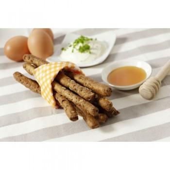 Mehrkorn-Fitness-Grissini zum Frühstück, mit Streichkäse und Honig
